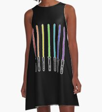 What Color is Your LightSaber Star Wars Rainbow A-Line Dress