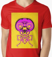pink bone structure and skull with yellow background Mens V-Neck T-Shirt
