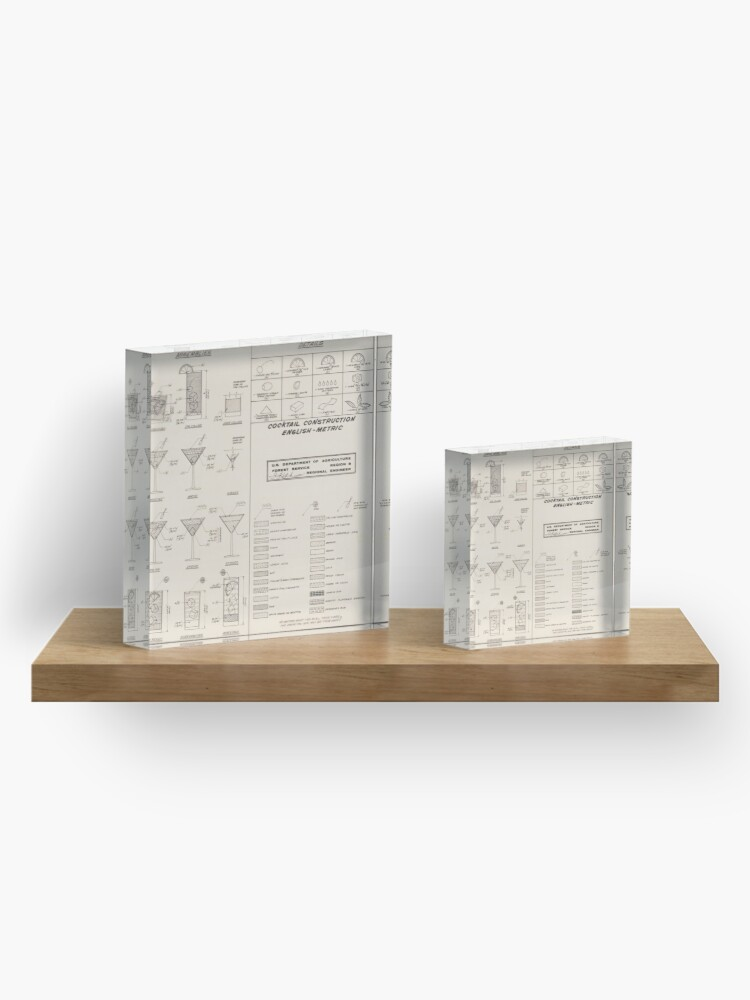 Alternate view of Cocktail Construction Chart by United States Forest Service Acrylic Block
