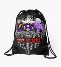 Three Wise Villains (black) Drawstring Bag