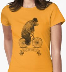 Bears on Bicycles (lime option) Women's Fitted T-Shirt