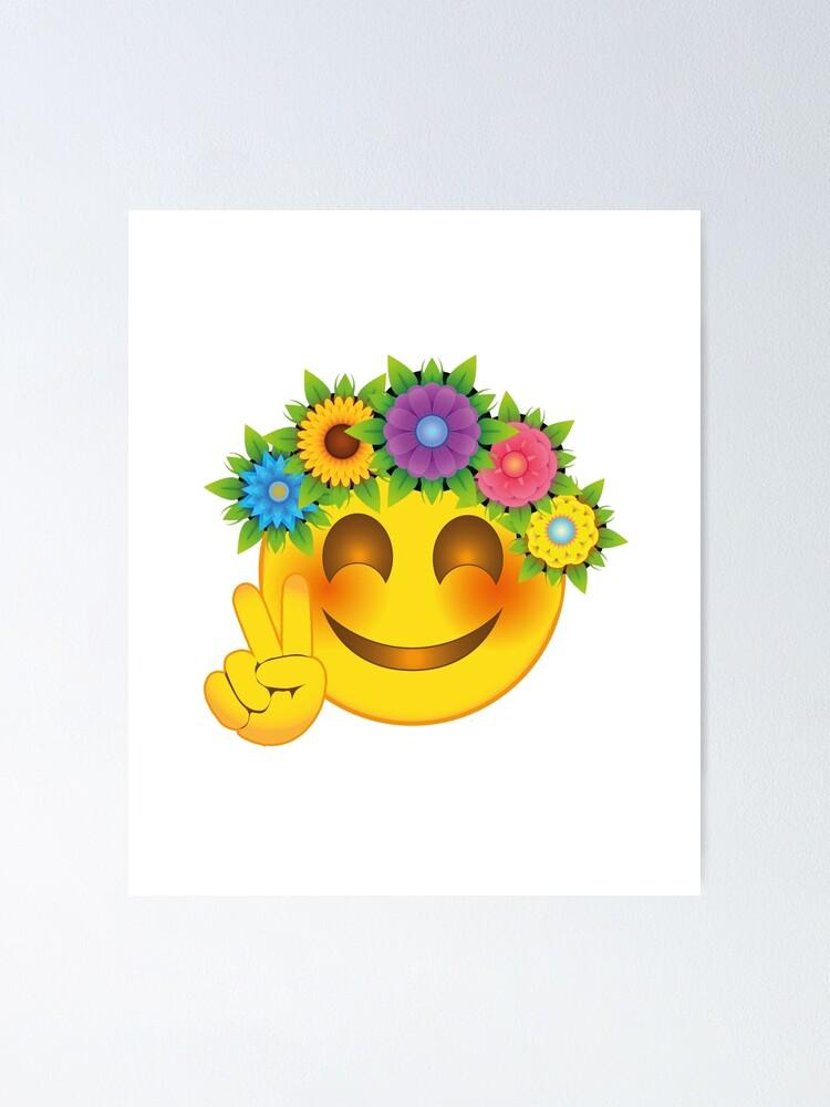Smiley mit blumenstrauß
