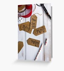 xmas tags with Merry in hand lettering Greeting Card