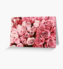 painting fresh pink roses texture background Greeting Card