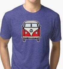 Red White Campervan (slightly cubist) Tri-blend T-Shirt