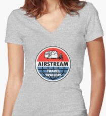 Airstream Travel Trailer Vintage Decal Women's Fitted V-Neck T-Shirt