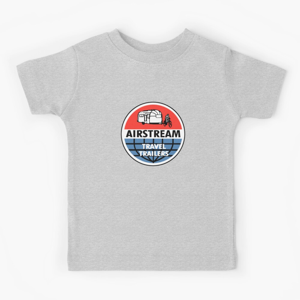 VINTAGE TRAVEL TRAILER DECAL GREY//SILVER LETTERING T-SHIRT AIRSTREAM