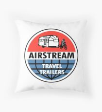Airstream Travel Trailer Vintage Decal Throw Pillow
