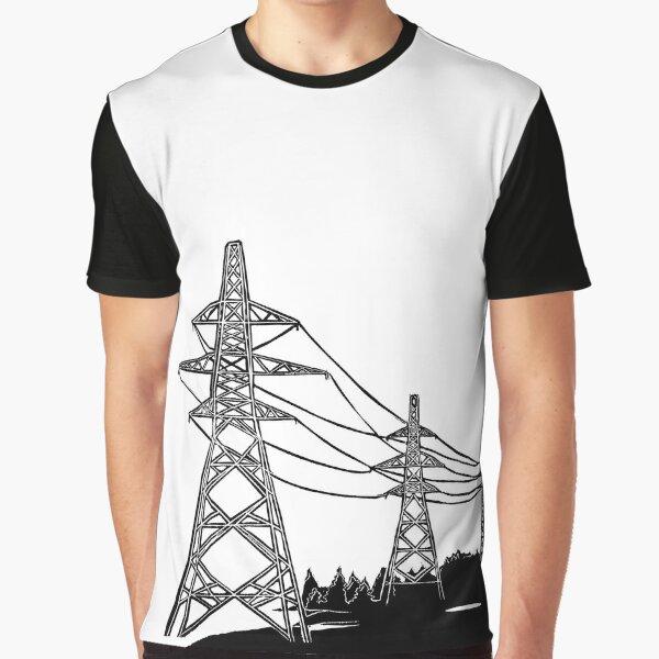 Pylons Linocut Silhouette Graphic T-Shirt