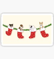 Christmas Bull Terrier Puppies - Creme Sticker