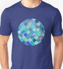 Cobalt Blue, Aqua & Gold Decorative Moroccan Tile Pattern Unisex T-Shirt