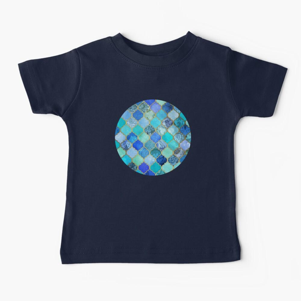 Cobalt Blue, Aqua & Gold Decorative Moroccan Tile Pattern Baby T-Shirt