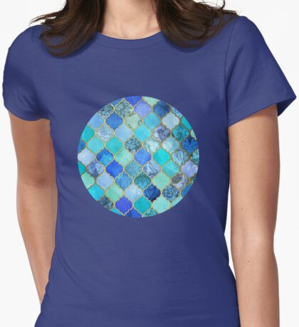 Cobalt Blue, Aqua & Gold Decorative Moroccan Tile Pattern Womens Fitted T-Shirt