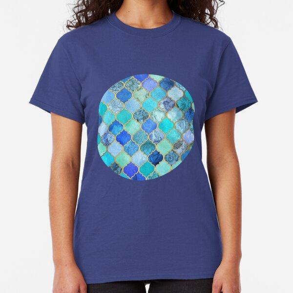 Cobalt Blue, Aqua & Gold Decorative Moroccan Tile Pattern Classic T-Shirt