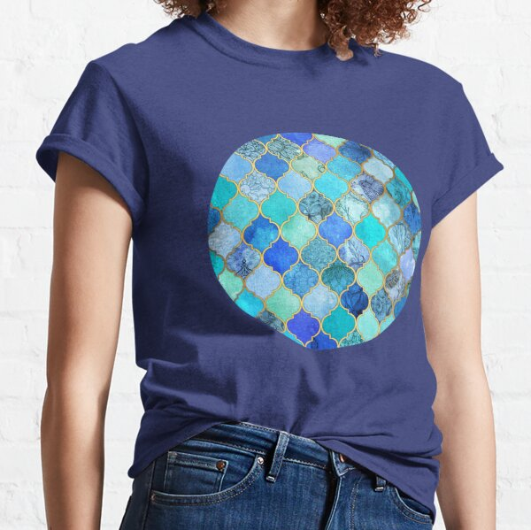 Cobalt Blue, Aqua & Gold Decorative Moroccan Tile Pattern Classic T-Shirt