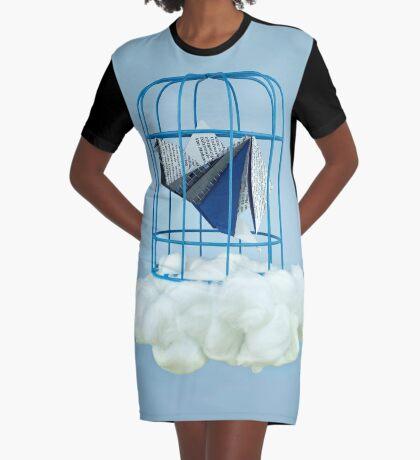 Wolke unter Gefangenvogel T-Shirt Kleid