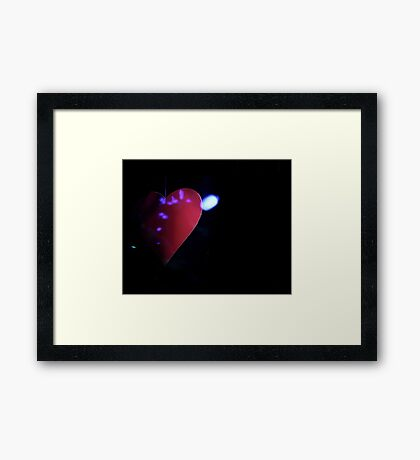 Saint Valentines day red love heart in darkness 35mm negative analog film photograph Framed Print
