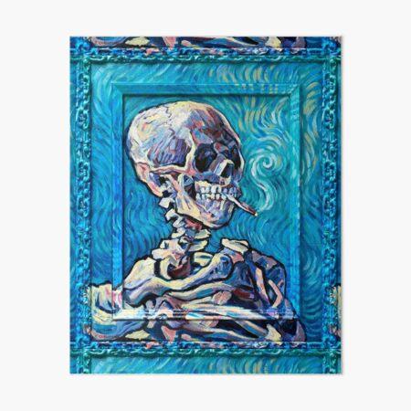 Van Gogh's Smoking Skeleton Art Board Print