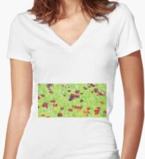 red yellow and green nature abstract background Women's Fitted V-Neck T-Shirt