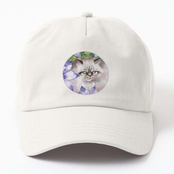 Cat and Blue Clematis Flowers Dad Hat