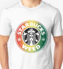 STARBUCKS WEED - Rasta flag colors T-Shirt