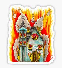 FLAMING CHURCH - Art By Kev G Sticker