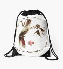"""eternity"" :  Enso sumi-e dry brush acrylic painting   Drawstring Bag"