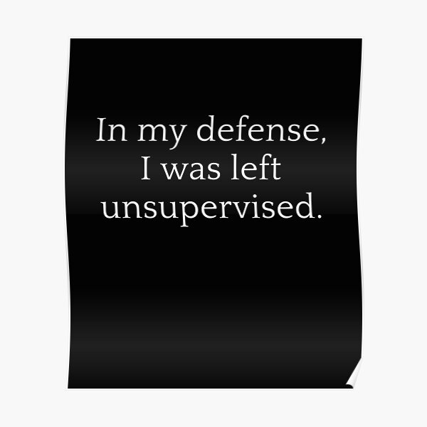 In my defense i was left unsupervised 2 perfect t-shirt. Poster