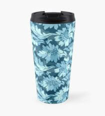 Floral - Blue High Contrast Travel Mug