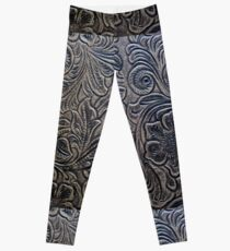 Brown Embossed Tooled Leather Floral Scrollwork Design Leggings