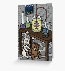 Teddy Bear and Bunny - The Rescue Came Too Late Greeting Card