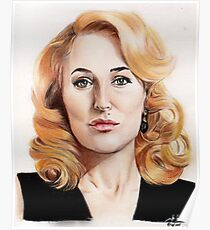 Gillian Anderson color pencil Poster