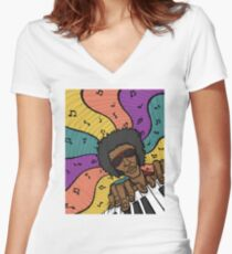 Piano Man Making Music Women's Fitted V-Neck T-Shirt