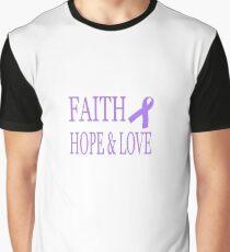 Faith Hope & Love All Cancers Lavender Ribbon  Graphic T-Shirt