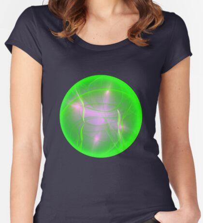 Green light planet #Fractal Art Women's Fitted Scoop T-Shirt