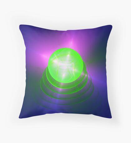 Green light planet #Fractal Art Throw Pillow