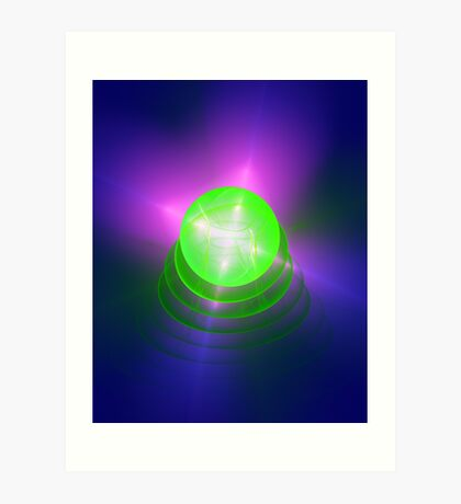 Green light planet #Fractal Art Art Print