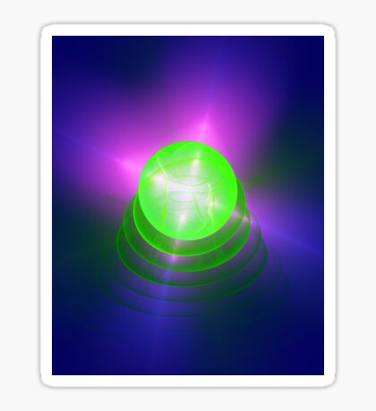 Green light planet #Fractal Art Sticker