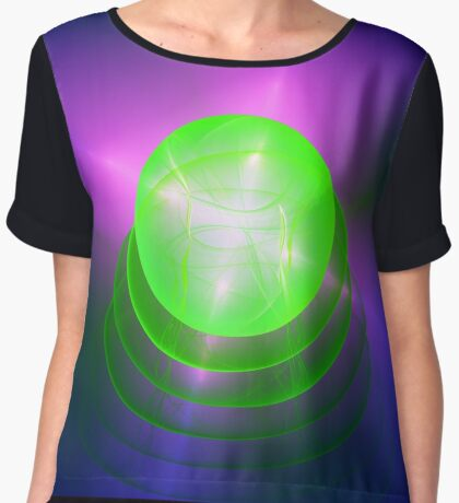 Green light planet #Fractal Art Women's Chiffon Top