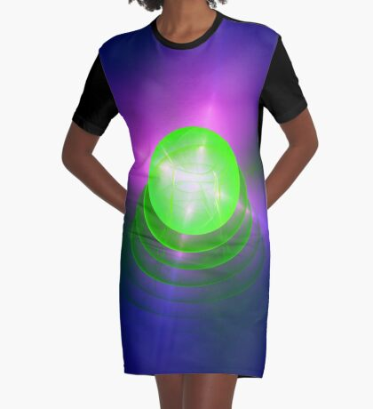 Green light planet #Fractal Art Graphic T-Shirt Dress