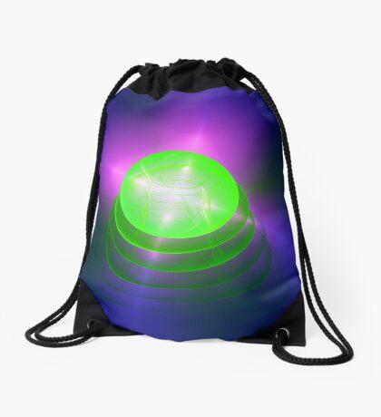 Green light planet #Fractal Art Drawstring Bag