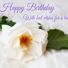 White Rose - Birthday Card by Ellesscee