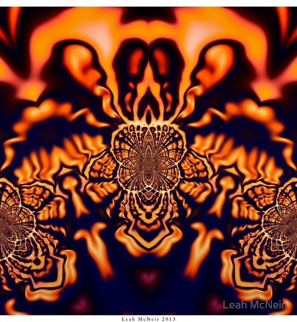 Monks Pondering Sacred Geometry  - Fractal Surreal Abstract by Leah McNeir