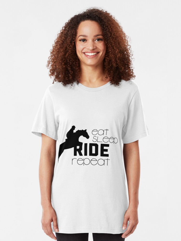 Eat Sleep Ride Ladies T Shirt Womens Horse Riding Equestrian Unisex Jumping
