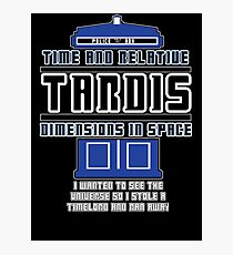 """The Tardis who stole a Timelord"" Photographic Print"