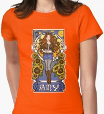 The Girl Who Waited (Amy under a Van Gogh sky) Women's Fitted T-Shirt