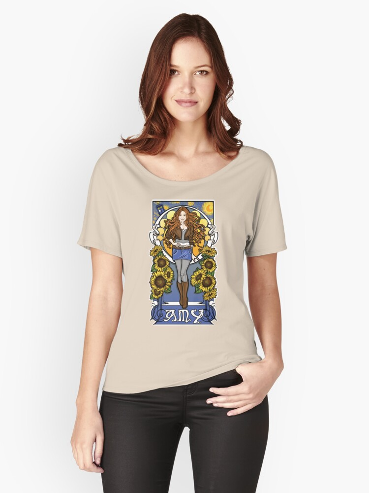The Girl Who Waited (Amy under a Van Gogh sky) Women's Relaxed Fit T-Shirt Front