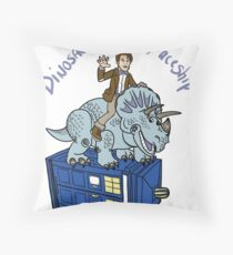 Dinosaurs on a Spaceship Throw Pillow