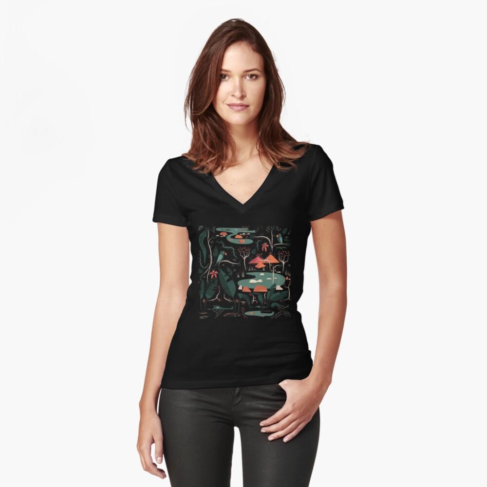 Das Wasserloch Tailliertes T-Shirt mit V-Ausschnitt