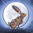 Hare under the moon by MishMonster